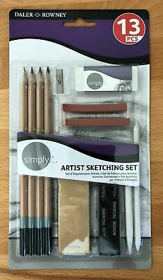 Daler Rowney. Artist Sketching Set. 13 Piece. Drawing Pencils, Pastel Sticks etc