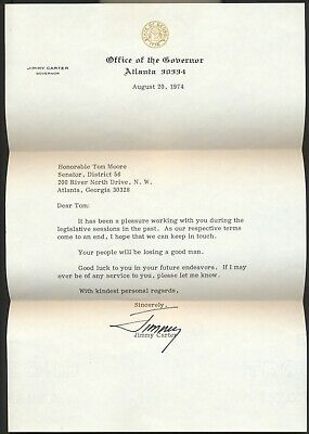 Governor Jimmy Carter Signed Typed Letter Aug 20 1974 Atlanta Georgia