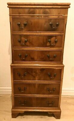 Antique Walnut Chest On Chest Tallboy With Foux Marble Top