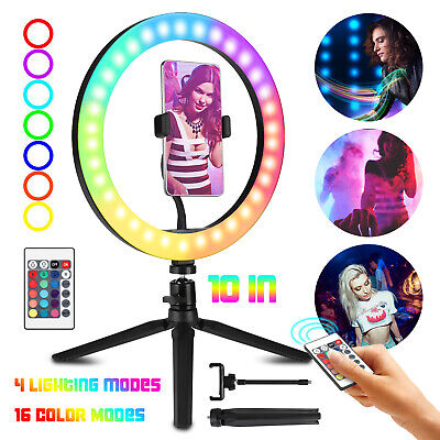 """Dimmable 10"""" RGB LED Ring Light kits For Youtube Video Photo Clamp Tripod Stand"""