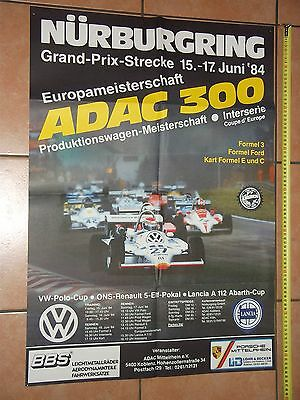 1984 Poster 300 km Rennen Nürburgring F3 DTM Interserie Coupe d´Europe Affiche