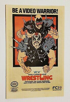 Vintage Retro 1989 WCW Wrestling Road Warriors Nintendo Video Game ad