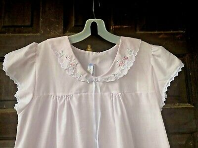 Vtg SIMPLY BASIC Pink Summer Nightgown Cotton Blend Floral Embroidery Small