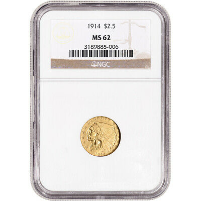 1914 US Gold $2.50 Indian Head Quarter Eagle - NGC MS62