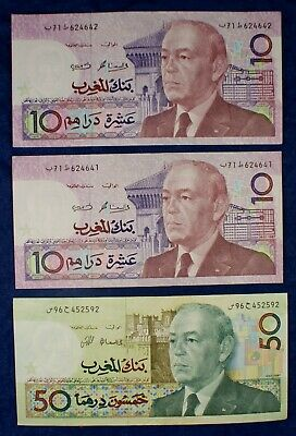 1987 Morocco 10 & 50 Dirhams Currency Banknotes - 3 Notes