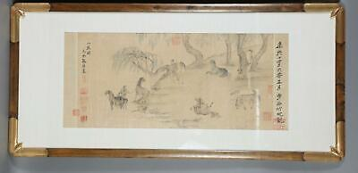 Chinese Colored Ink on Silk Horse Paintings Chao Yung