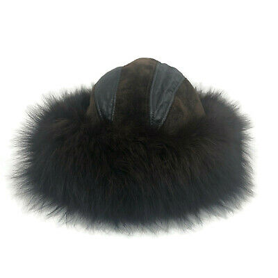 VTG Mitchie's Matchings Genuine Leather Fox Fur Winter Hat Cap OSFM Made Canada