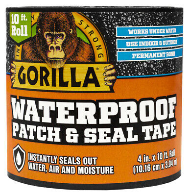 "NEW Gorilla 4612502 Waterproof Tape Patch and Seal Permanent Bond 4"" X 10' Black"