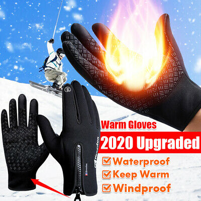 A Pair Winter Sport Skiing Gloves Touch Screen Zipper Thermal Warm Mittens Adult