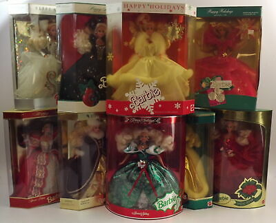 BARBIE Happy Holidays Collection VTG Special Editions: Lot of 9! 1989-1997 NRFB