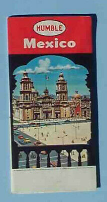 1960 Mexico road map Humble oil illustrated pictorial city inserts
