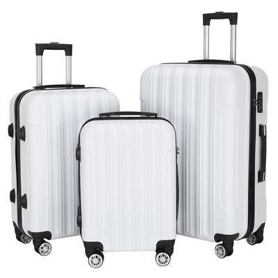 New 3PCS Luggage Travel Set Bag ABS Trolley Hard Shell Suitcase w/TSA lock White