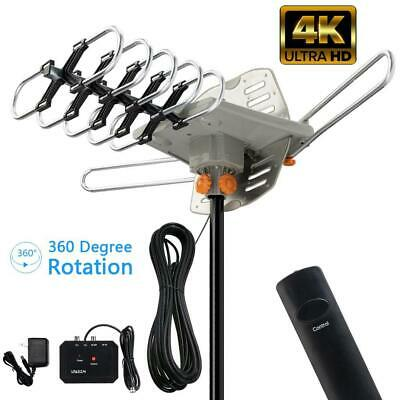 990Mile Outdoor Amplified TV Antenna HDTV 1080P 4K 36dB Motorized Rotation 360°