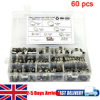 60Pcs Assorted Stainless Steel Hose Clamp Kit With No Driver Jubilee Clip Set //
