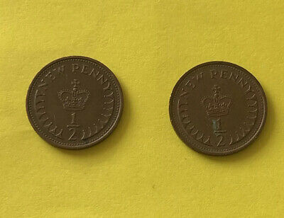 Two 1/2 Penny Coins From The UK Dated 1971 And 1974