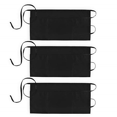 3 Pack Waist Aprons with 3 Pockets Waitress Server Waiter Apron Women Men Black