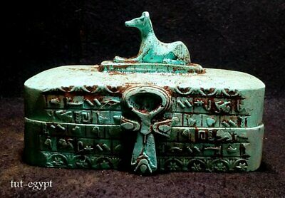 Rare Antique Ancient Egyptian King Tutankhamun Statue Box  Scarab magic 1740 BC