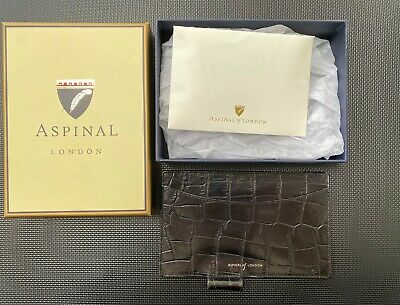 Aspinal of London black leather notepad in original box