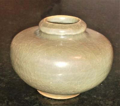 Fascinating Chinese Ming Dynasty Celadon Glaze Small Jarlet /Brush Pot w Receipt