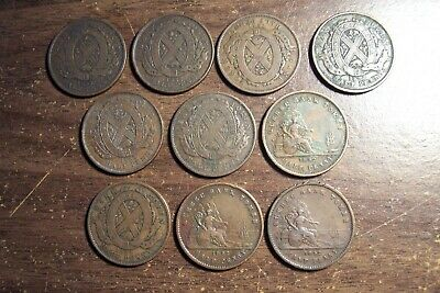 Canada Bank Tokens 1837-1852  Lot of 10 Quebec Montreal Half Pennies