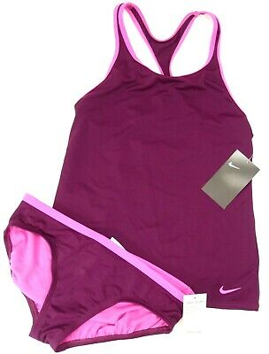 New Nike Swim Girls Sporty Purple Pink Two Piece Tankini Swim Suit L 12-13 YRS