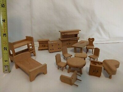 Wooden dollhouse furniture for dining room, kitchen, bedroom