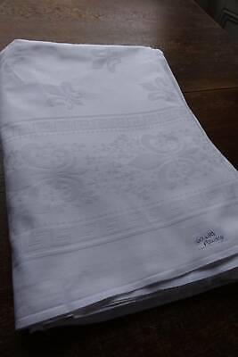 "Vintage white Irish damask tablecloth - Fleur de Lys design - 62"" x 84""."