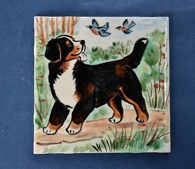 Bernese Mountain Dog. Handpainted ceramic  tile . OOAK .LOOK!