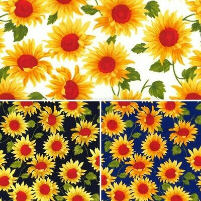 100% Cotton Poplin Fabric Rose & Hubble Large Yellow Sunflowers Floral