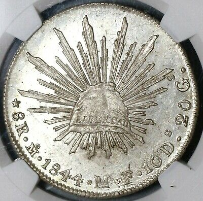 1844-Mo NGC MS 63 Mexico 8 Reales Lustrous Silver Dollar Coin (20052302C)
