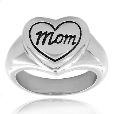 Engraved 'Mom' Heart Polished Stainless Steel 13mm Wide Ring