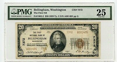 1929 $20 Bellingham Washington First NB Note (Very Fine 25) PMG