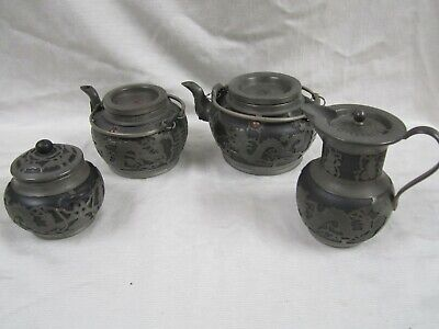 Authentic, And Genuine Circa 1910 Wen Hua Shun Pewter &Ceramic 4 Pc Tea Set