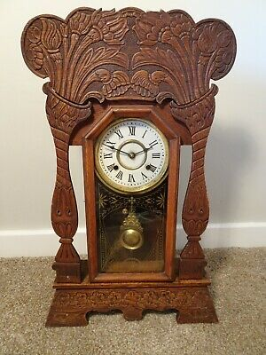 Antique Victorian New Haven Clock Co Gingerbread Oak Bracket Clock Chime Key