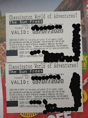 Chessington World Of Adventures - Paper Tickets x 2 -  ANY DATE 2020