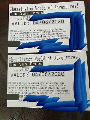Chessington World Of Adventures - Paper Tickets x 2 -  **ANY DATE 2020**