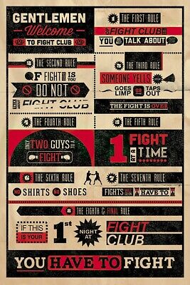 """FIGHT CLUB - MOVIE POSTER (INFOGRAPHIC - FAMOUS QUOTES AND FACTS) (24"""" x 36"""")"""