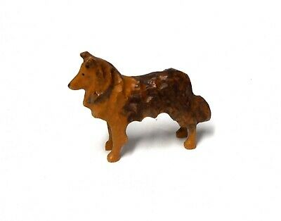 Vintage Miniature Or Small Size Wood Carved Collie Dog Figure