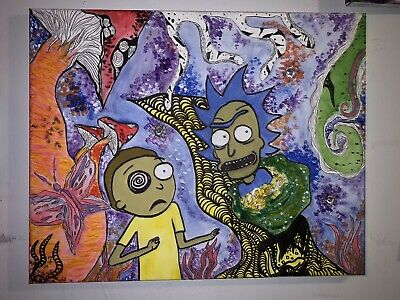 Abstract Acrylic Painting on Canvas Rick and Morty Original