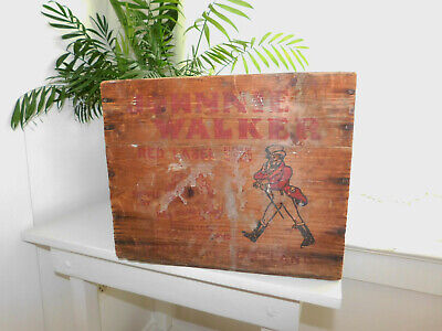 RARE 1934 JOHNNIE WALKER Wood Advertising LIQUOR CRATE Metal Rivots Aged History