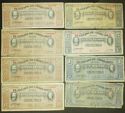 1914 1915 Mexico Mexican Chihuahua paper currency 8 bills = 97 Pesos You grade