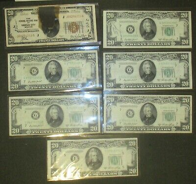 Lot of 7 $20 Bills 1- 1929 National Currency 6- 1950 Federal Reserve Notes