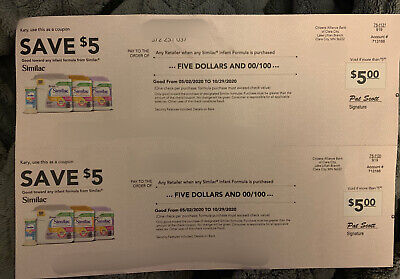 (2) $5 Coupon / Check $10 Value