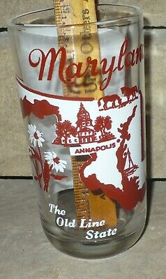 VINTAGE 1950's BIG TOP  PEANUT BUTTER GLASS  / STATE TUMBLER &  SONG / MARYLAND