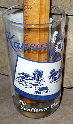 VINTAGE 1950's BIG TOP PEANUT BUTTER GLASS  / STATE TUMBLER WITH SONG / KANSAS