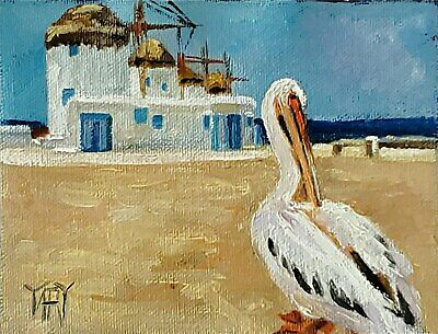 YARY DLUHOS ORIGINAL OIL PAINTING Mykonos Greece Pelican Bird Greek Island Sun
