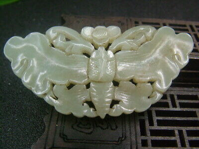 Chinese Antique Celadon Nephrite Hetian-OLD Jade butterfly statues/Pendant
