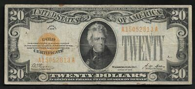 US  $20  1928 United States Of America Gold Certificate