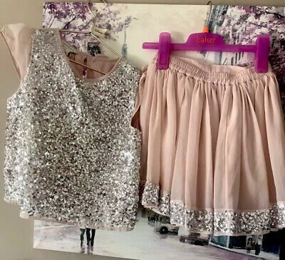 Monsoon Girl 7 Year Sequins Embellished Skirt Cap Sleeve Top Blouse Lined Outfit