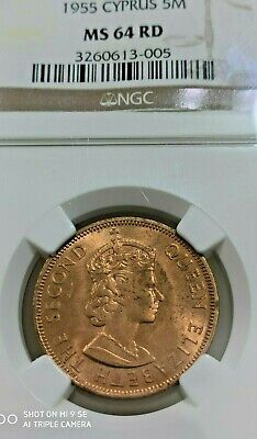 CYPRUS 5 Mils 1955 MS64RD by NGC  - A Beautiful RED uncirculated coin